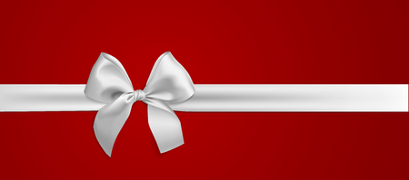 Realistic white bow and ribbon isolated on red background. Vector illustration. Template for brochure or greeting card.