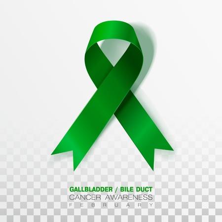 Gallbladder and Bile Duct Cancer Awareness Month. Realistic Kelly Green ribbon symbol. Medical Design. Vector Illustration. Çizim