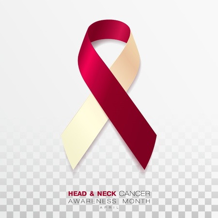 Head and Neck Cancer Awareness Month. Burgundy and Ivory Color Ribbon Isolated On Transparent Background. Vector Design Template For Poster. Illustration