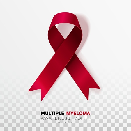 Multiple Myeloma Awareness Month. Burgundy Color Ribbon Isolated On Transparent Background. Vector Design Template For Poster. Illustration