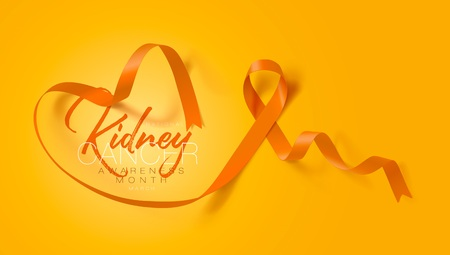 National Kidney Cancer Awareness Month. Orange Color Ribbon Isolated On Transparent Background. Vector Design Template For Poster. Illustration