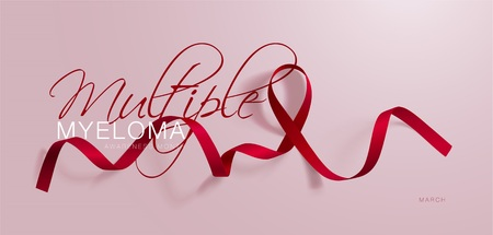 Multiple Myeloma Awareness Calligraphy Poster Design. Realistic Burgundy Ribbon. March is Cancer Awareness Month. Vector Illustration