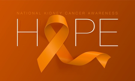National Kidney Cancer Awareness Calligraphy Poster Design. Realistic Orange Ribbon. March is Cancer Awareness Month. Vector Illustration
