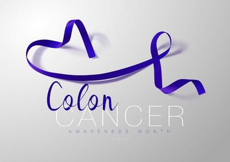 Colon Cancer Awareness Calligraphy Poster Design. Realistic Dark Blue Color Ribbon. March is Cancer Awareness Month. Vector Illustration