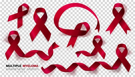 Multiple Myeloma Awareness Month. Burgundy Color Ribbon Isolated On Transparent Background. Set. Vector Design Template For Poster. Illustration 矢量图像