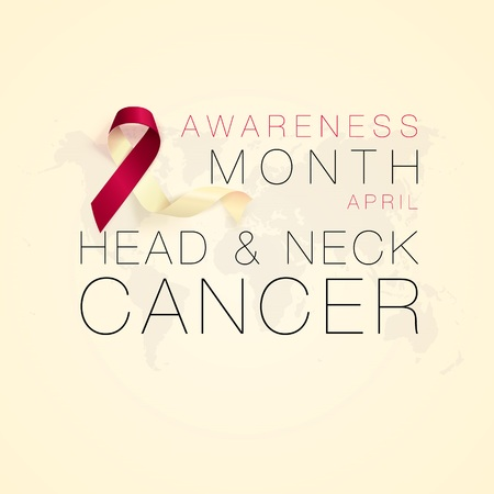 Head and Neck Cancer Awareness Calligraphy Poster Design. Realistic Burgundy and Ivory Ribbon. April is Cancer Awareness Month. Vector