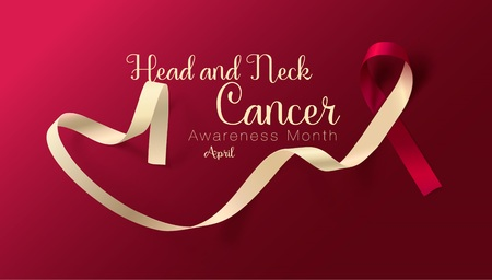 Head and Neck Cancer Awareness Calligraphy Poster Design. Realistic Burgundy and Ivory Ribbon. April is Cancer Awareness Month. Vector Illustration