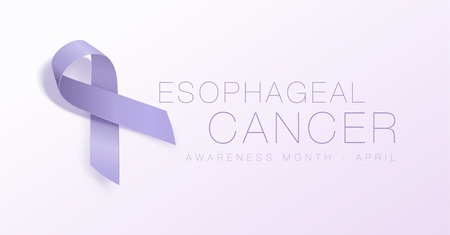 Esophageal Cancer Awareness Calligraphy Poster Design. Realistic Periwinkle Ribbon. April is Cancer Awareness Month. Vector