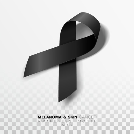 Melanoma and Skin Cancer Awareness Month. Black Color Ribbon Isolated On Transparent Background. Vector Design Template For Poster. Illustration
