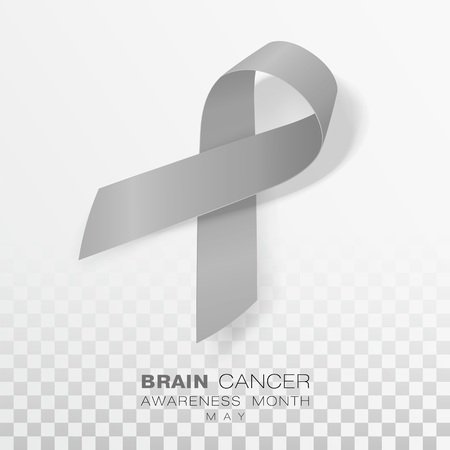 Brain Cancer Awareness Month. Grey Color Ribbon Isolated On Transparent Background. Vector Design Template For Poster. Illustration.