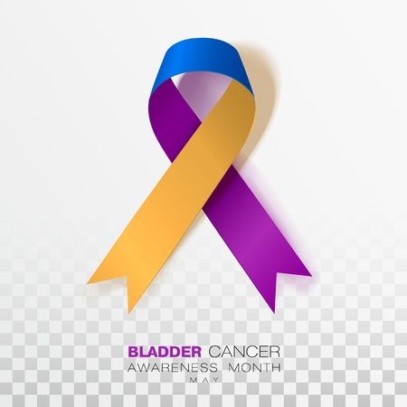 Bladder Cancer Awareness Month. Marigold And Blue And Purple Color Ribbon Isolated On Transparent Background. Vector Design Template For Poster. Illustration.