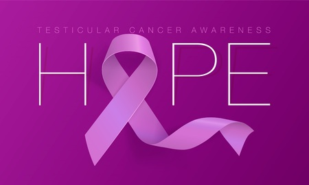 Testicular Cancer Awareness Calligraphy Poster Design. Realistic Orchid Ribbon. April is Cancer Awareness Month. Vector