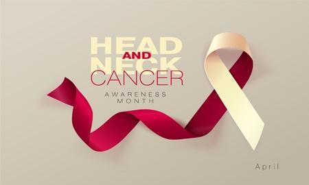 Conception d'affiche de calligraphie de sensibilisation au cancer de la tête et du cou. Ruban bourgogne et ivoire réaliste. Avril est le mois de la sensibilisation au cancer. Vecteur Vecteurs