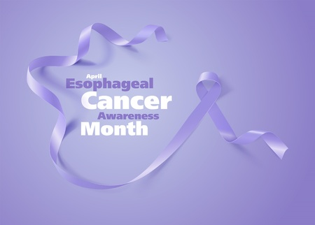 Esophageal Cancer Awareness Calligraphy Poster Design. Realistic Periwinkle Ribbon. April is Cancer Awareness Month. Vector Çizim