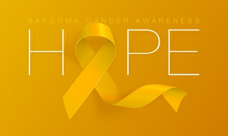 Hope. Sarcoma and Bone Cancer Awareness Calligraphy Poster Design. Realistic Yellow Ribbon. July is Cancer Awareness Month. Vector Illustration