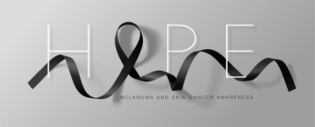 Melanoma and Skin Cancer Awareness Calligraphy Poster Design. Hope. Realistic Black Ribbon. May is Cancer Awareness Month. Vector Illustration