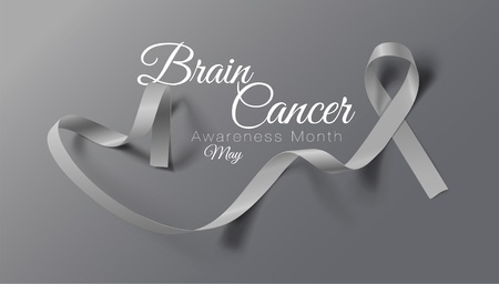 Brain Cancer Awareness Calligraphy Poster Design. Realistic Grey Ribbon. May is Cancer Awareness Month. Vector Illustration Illustration