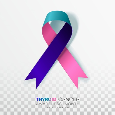 Thyroid Cancer Awareness Month. Teal and Pink and Blue Color Ribbon Isolated On Transparent Background. Vector Design Template For Poster. Illustration. Ilustracja