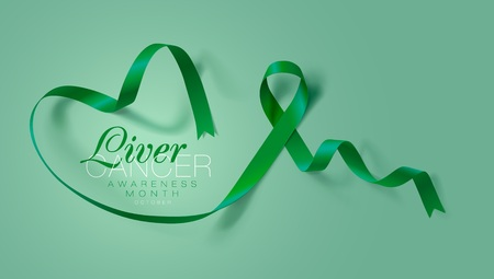 Liver Cancer Awareness Calligraphy Poster Design. Realistic Emerald Green Ribbon. October is Cancer Awareness Month. Vector Illustration