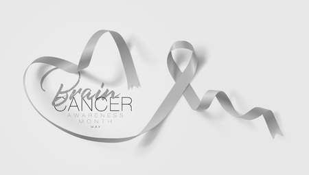 Brain Cancer Awareness Calligraphy Poster Design. Realistic Grey Ribbon. May is Cancer Awareness Month. Vector Illustration