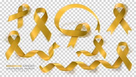 Childhood Cancer Awareness Month. Gold Color Ribbon Isolated On Transparent Background. Vector Design Template For Poster. Illustration.
