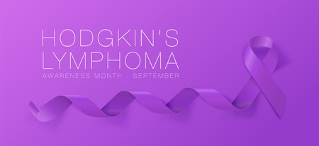 Hodgkins Lymphoma Awareness Calligraphy Poster Design. Realistic Violet Ribbon. September is Cancer Awareness Month. Vector