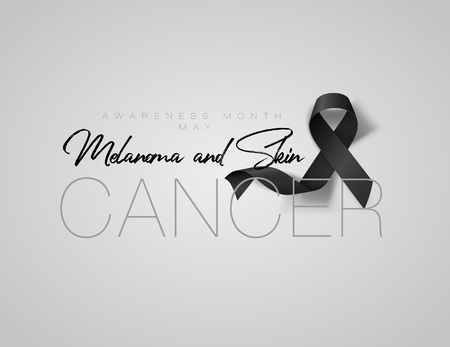 Melanoma and Skin Cancer Awareness Calligraphy Poster Design. Realistic Black Ribbon. May is Cancer Awareness Month. Vector Illustration