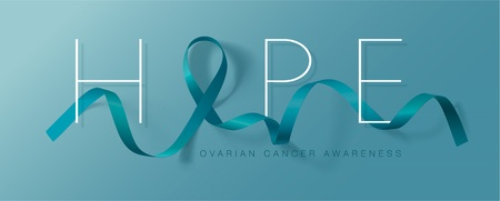Hope. Ovarian Cancer Awareness Calligraphy Poster Design. Realistic Teal Ribbon. September is Cancer Awareness Month. Vector Illustration Illustration