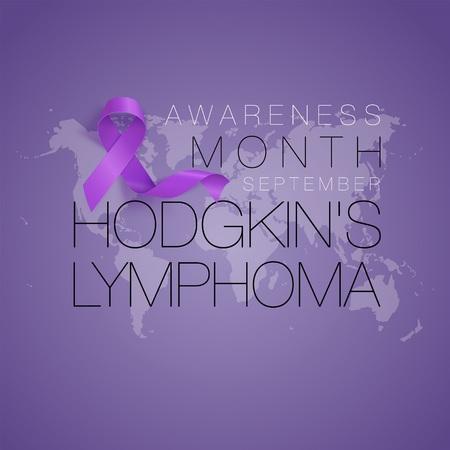 Hodgkins Lymphoma Awareness Calligraphy Poster Design. Realistic Violet Ribbon. September is Cancer Awareness Month. Vector