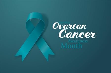 Ovarian Cancer Awareness Calligraphy Poster Design. Realistic Teal Ribbon. September is Cancer Awareness Month. Vector Illustration