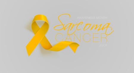 Sarcoma and Bone Cancer Awareness Calligraphy Poster Design. Realistic Yellow Ribbon. July is Cancer Awareness Month. Vector Illustration