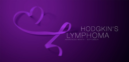 Hodgkin's Lymphoma Awareness Calligraphy Poster Design. Realistic Violet Ribbon. September is Cancer Awareness Month. Vector Illustration