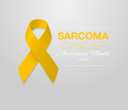 Sarcoma and Bone Cancer Awareness Calligraphy Poster Design. Realistic Yellow Ribbon. July is Cancer Awareness Month. Vector Иллюстрация
