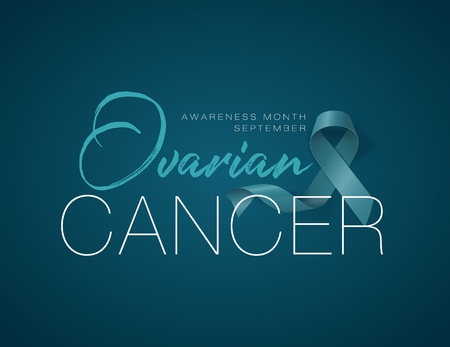 Ovarian Cancer Awareness Calligraphy Poster Design. Realistic Teal Ribbon. September is Cancer Awareness Month. Vector Illustration Illustration