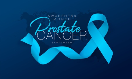 Prostate Cancer Awareness Calligraphy Poster Design. Realistic Light Blue Ribbon. September is Cancer Awareness Month. Vector Illustration
