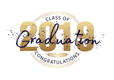 Graduation label. Lettering Class of 2019 for greeting, invitation card. Vector text for graduation design, congratulation event, party, high school or college graduate.
