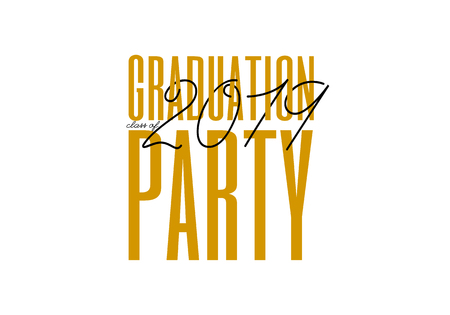 Graduation label. Lettering Class of 2019 for greeting, invitation card. Vector text for graduation design, congratulation event, party, high school or college graduate. Ilustrace
