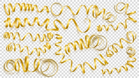 Set of realistic gold ribbons on transparency background.Can be used for greeting card, holidays, banners, gifts and etc. Vector illustration.