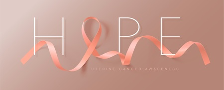 Hope. Uterine Cancer Awareness Calligraphy Poster Design. Realistic Peach Ribbon. September is Cancer Awareness Month. Vector