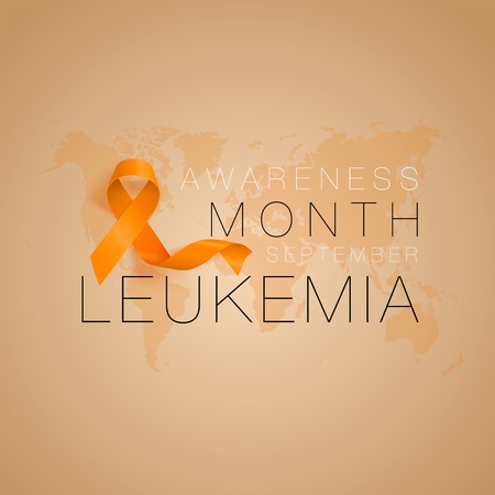 Leukemia Awareness Calligraphy Poster Design. Realistic Orange Ribbon. September is Cancer Awareness Month. Vector Illustration