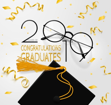 Congratulations graduates class of 2019. Lettering for graduates. Vector text for graduation design, congratulation event, party, greeting, invitation card, high school or college graduate.