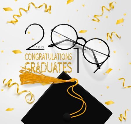 Felicitaciones a la clase de graduados de 2019. Letras para graduados. Texto vectorial para diseño de graduación, evento de felicitación, fiesta, saludo, tarjeta de invitación, graduado de la escuela secundaria o la universidad.