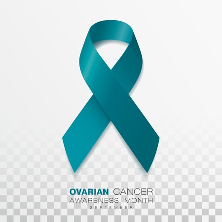 Ovarian Cancer Awareness Month. Teal Color Ribbon Isolated On Transparent Background. Vector Design Template For Poster.