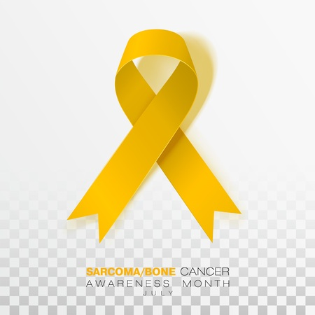 Sarcoma and Bone Cancer Awareness Week. Yellow Color Ribbon Isolated On Transparent Background. Vector Design Template For Poster. Иллюстрация