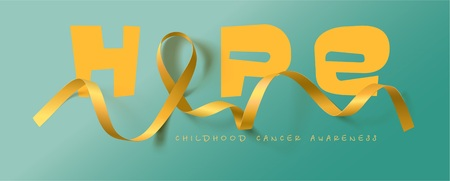 Hope. Childhood Cancer Awareness Calligraphy Poster Design. Realistic Gold Ribbon. September is Cancer Awareness Month. Vector Illustration