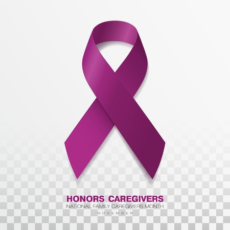 Honors Caregivers. National Family Caregivers Month. Plum Color Ribbon Isolated On Transparent Background. Vector Design Template For Poster. Vettoriali