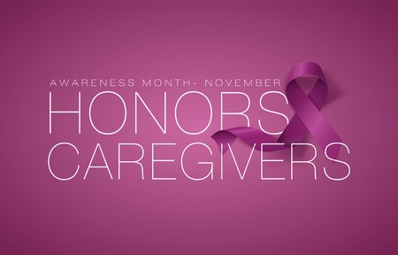 Honors Caregivers. National Family Caregivers Month. Calligraphy Poster Design. A Plum Ribbon brings awareness to Cancer Caregivers. November is Caregiver Awareness Month. Vector Illustration