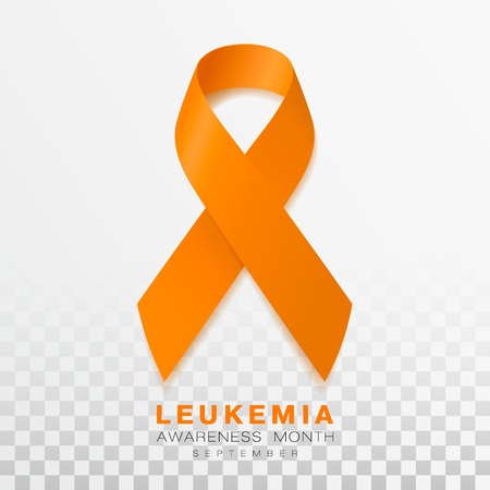 Leukemia Awareness Month. Orange Color Ribbon Isolated On Transparent Background. Vector Design Template For Poster.