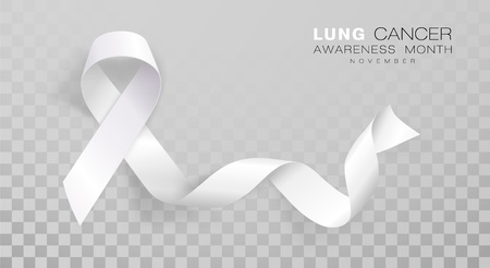 Lung Cancer Awareness Month. White Color Ribbon Isolated On Transparent Background. Vector Design Template For Poster. Illustration