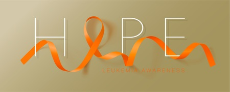 Hope. Leukemia Awareness Calligraphy Poster Design. Realistic Orange Ribbon. September is Cancer Awareness Month. Vector Illustration